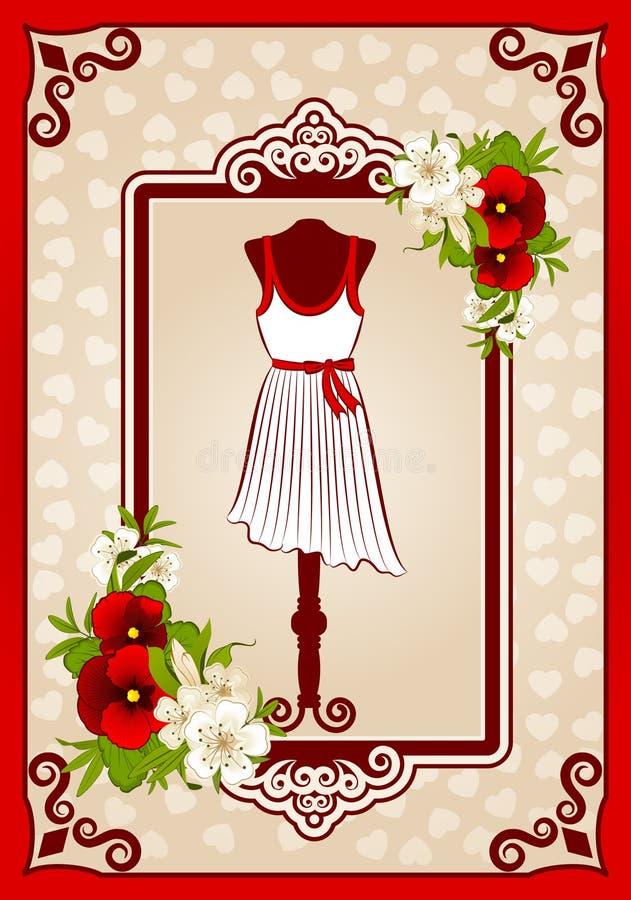 Z koronkowymi ornamentami rocznik suknia. royalty ilustracja