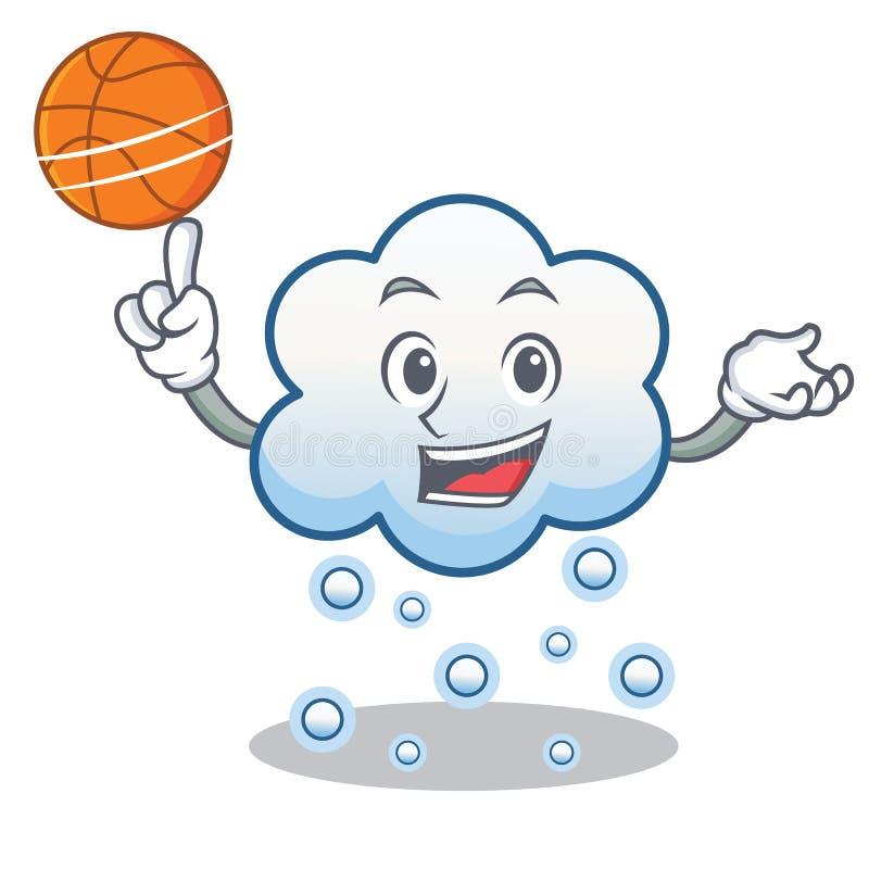 Z koszykówka śniegu chmury charakteru kreskówką royalty ilustracja