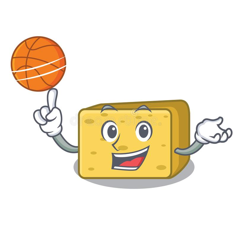 Z koszykówki gouda sera charakteru kreskówką royalty ilustracja