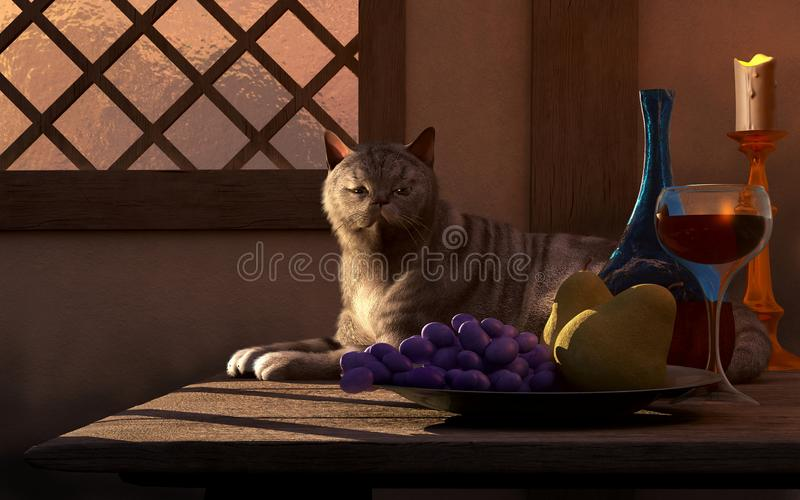 Z Kotem wciąż Życie royalty ilustracja