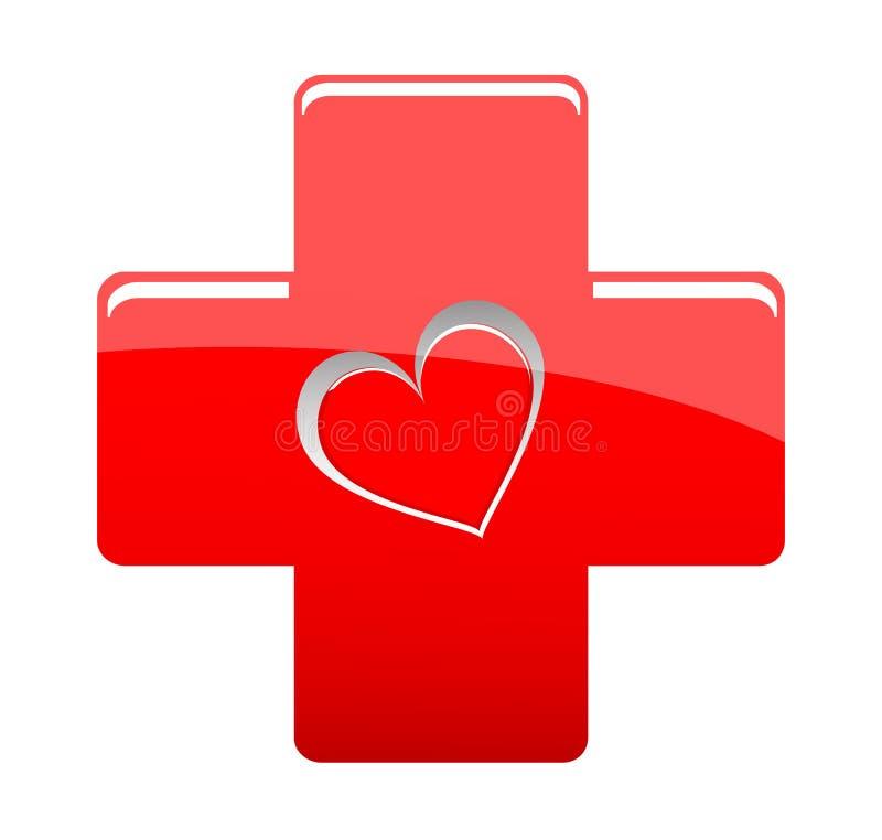 Z kształta sercem czerwony medyczny krzyż ilustracja wektor