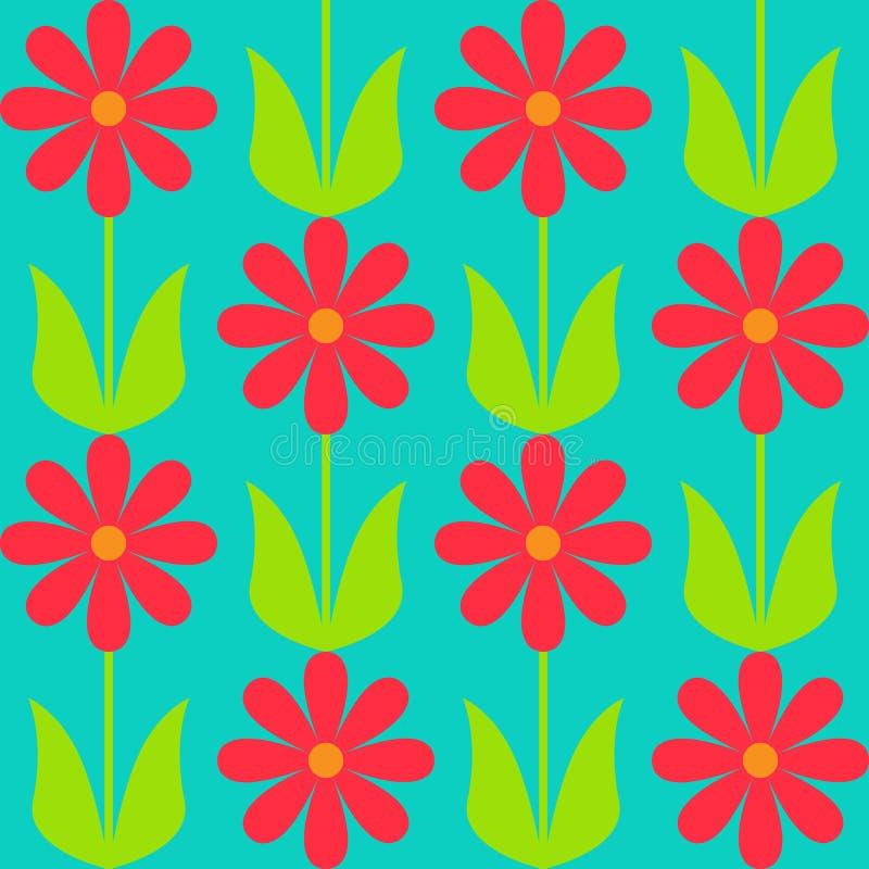 Z kwiatami prosty bezszwowy wzór ilustracja wektor