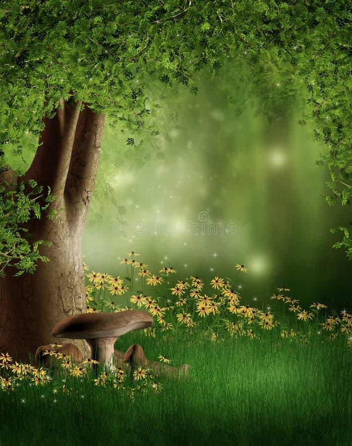 Z kwiatami zielona halizna royalty ilustracja
