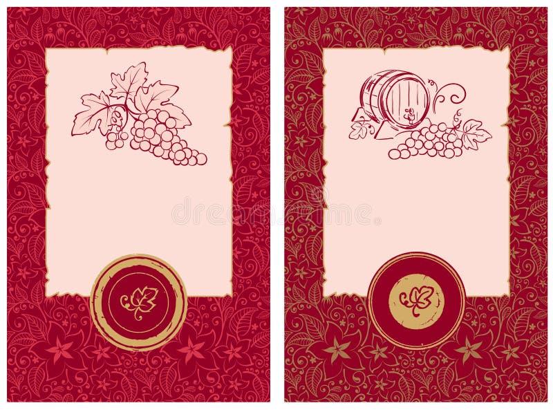 Z kwiecistym wzorem wino etykietki ilustracja wektor