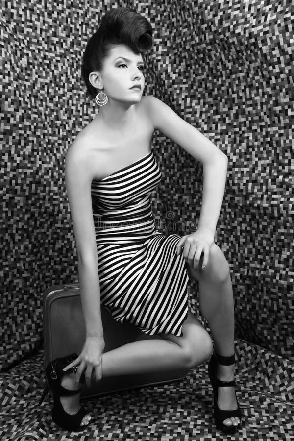 Z Lampasami Mody krańcowa Wysoka Kobieta zdjęcie royalty free