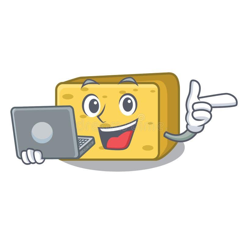 Z laptopu gouda sera charakteru kreskówką royalty ilustracja
