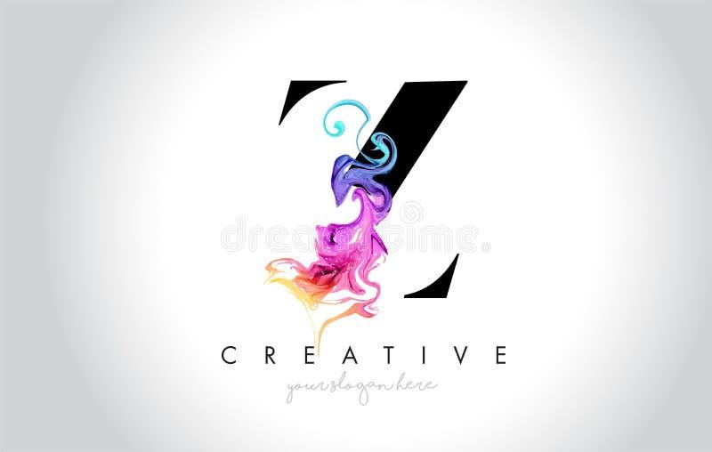 Z Leter creativo vibrante Logo Design con la tinta colorida Flo del humo stock de ilustración