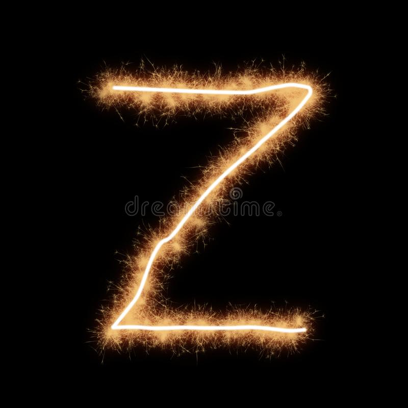 Z letter of alphabet on a black background. Letter Z of alphabet written by squib sparks on a black background vector illustration
