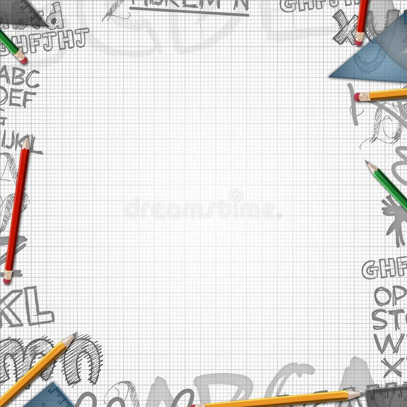 Z listami szkolny tło ilustracja wektor