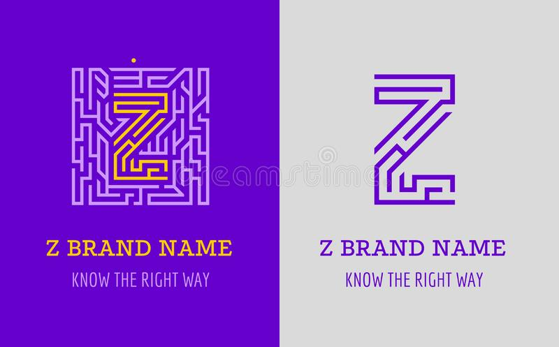 Z listu logo labirynt Kreatywnie logo dla korporacyjnej tożsamości firma: listowy Z Logo symbolizuje labitynt, wybór prawa ścieżk royalty ilustracja
