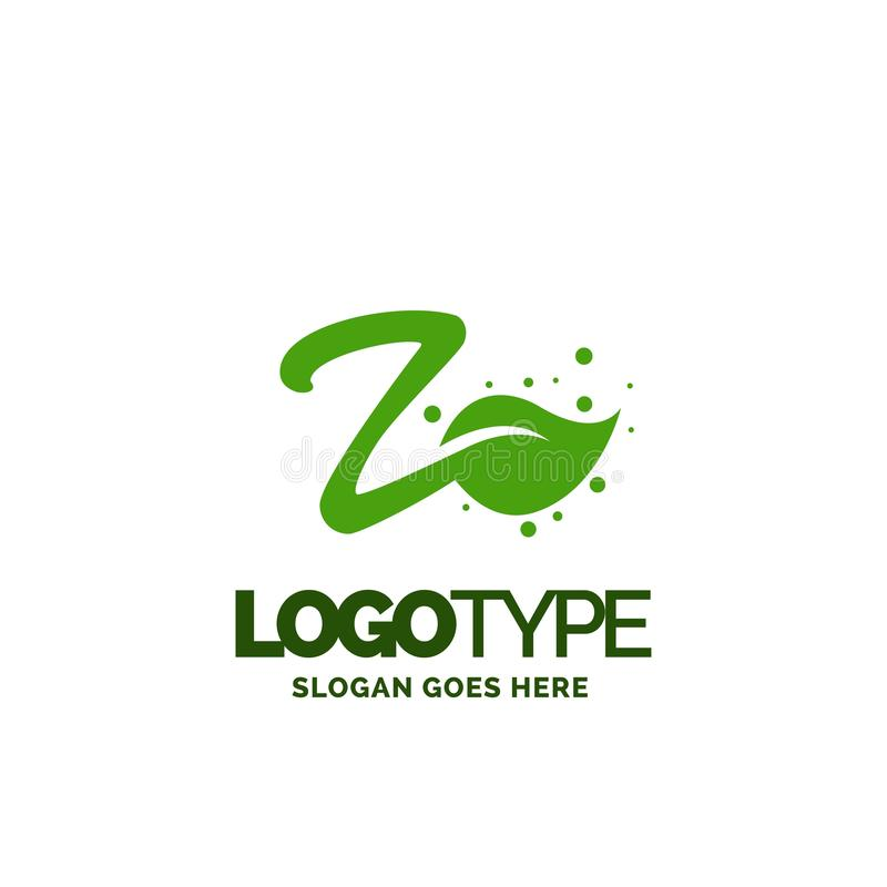 Z logo with Leaf Element. Nature Leaf logo designs, Simple leaf. Logo symbol. Natural, eco food. Organic food badges in vector. Vector logos. Natural logos with stock illustration
