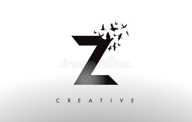 Z Logo Letter mit Menge von den Vögeln, die von fliegen und sich auflösen vektor abbildung