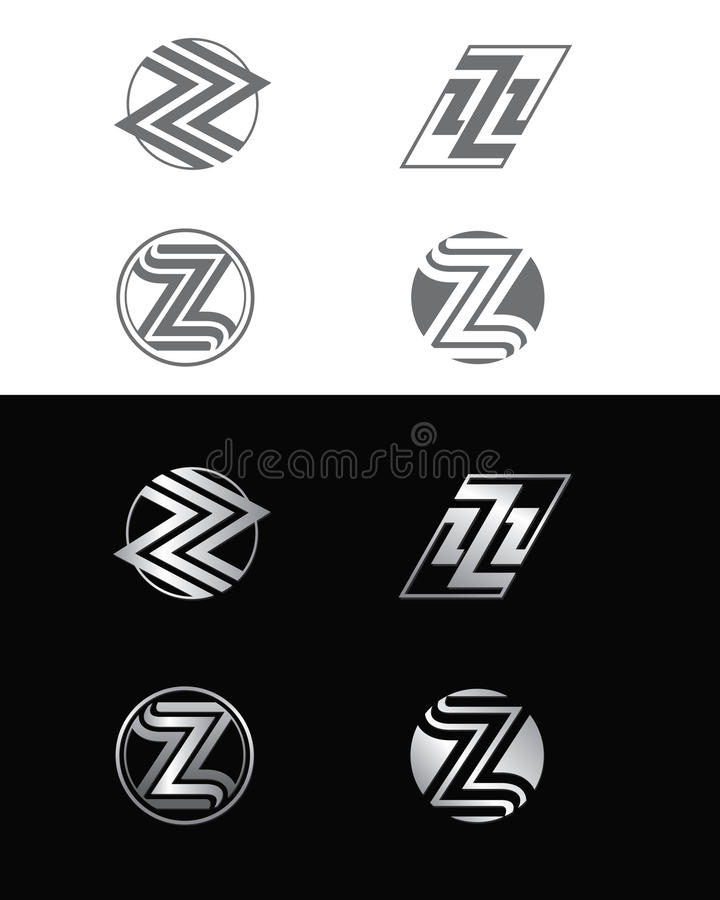 Z logos. A set of logos using Z letter for car and motor industry royalty free illustration
