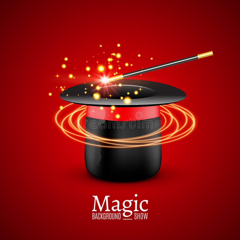 Z magiczną różdżką magiczny kapelusz Wektorowy magika występ Wizzard przedstawienia tło royalty ilustracja