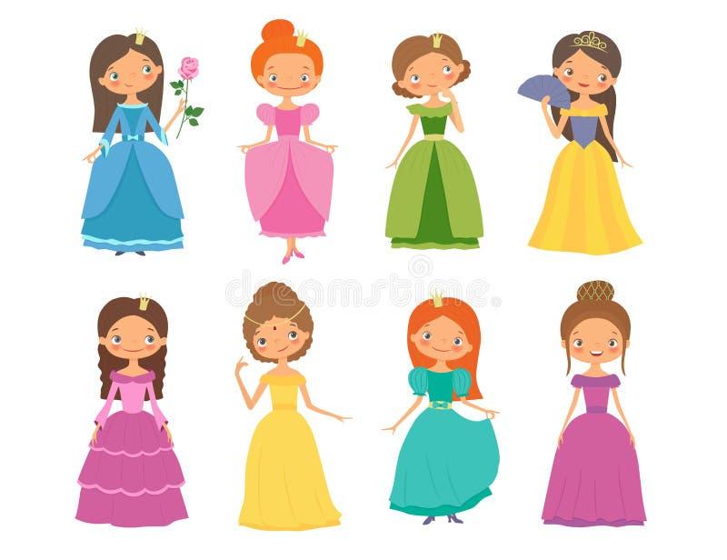Z magii książką fantazj abstrakcjonistyczni tła Set piękni princesses ilustracji