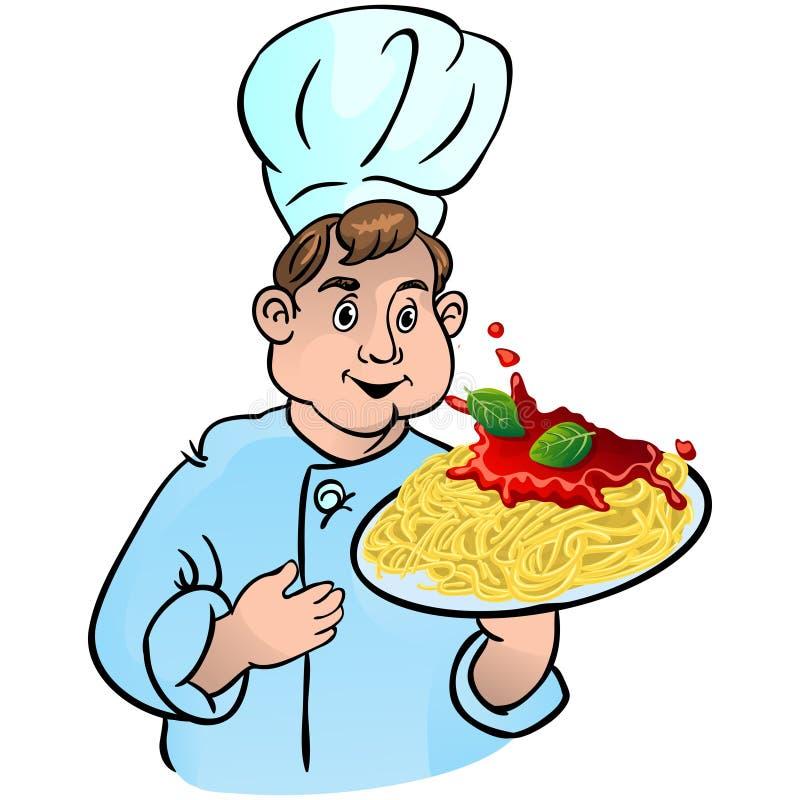 Z makaronami szef kuchni kucharz royalty ilustracja