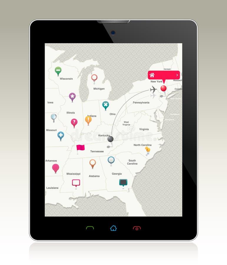Z Map Szpilkami Cyfrowej Pastylka ilustracji