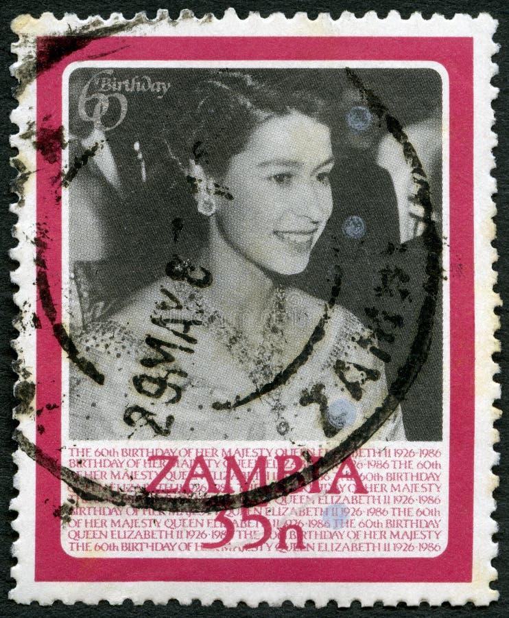 ZÂMBIA - 1986: mostras na bola da flor, hotel de couve-de-milão, Londres, 1951, aniversário da rainha Elizabeth II 60th fotos de stock royalty free