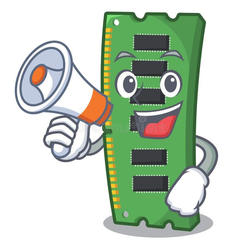 Z megafonu RAM kartą pamięci odizolowywającą w kreskówce royalty ilustracja