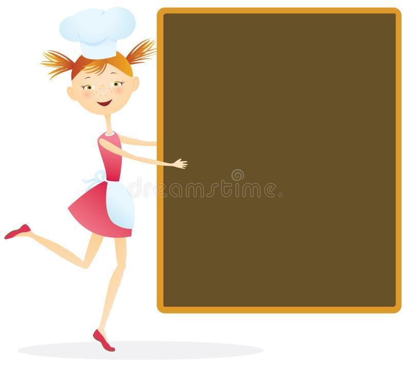 Z menu dziewczyna kucharz ilustracji