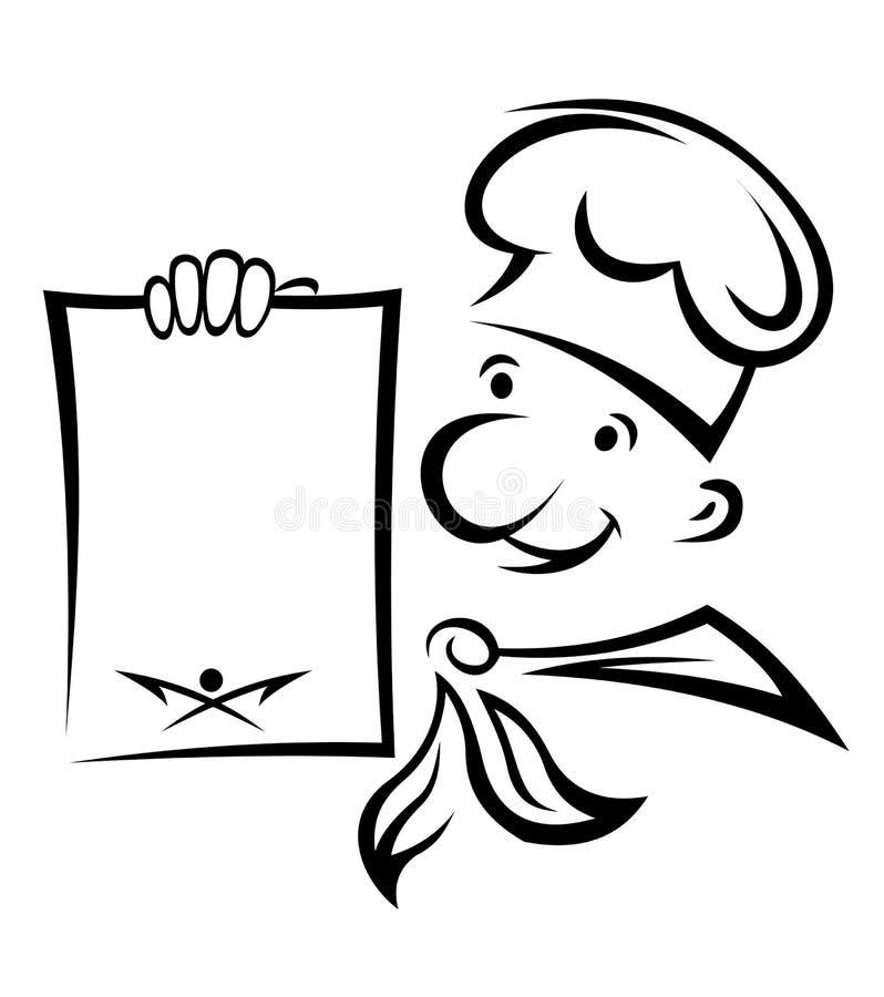 Z menu rozochocony szef kuchni ilustracji