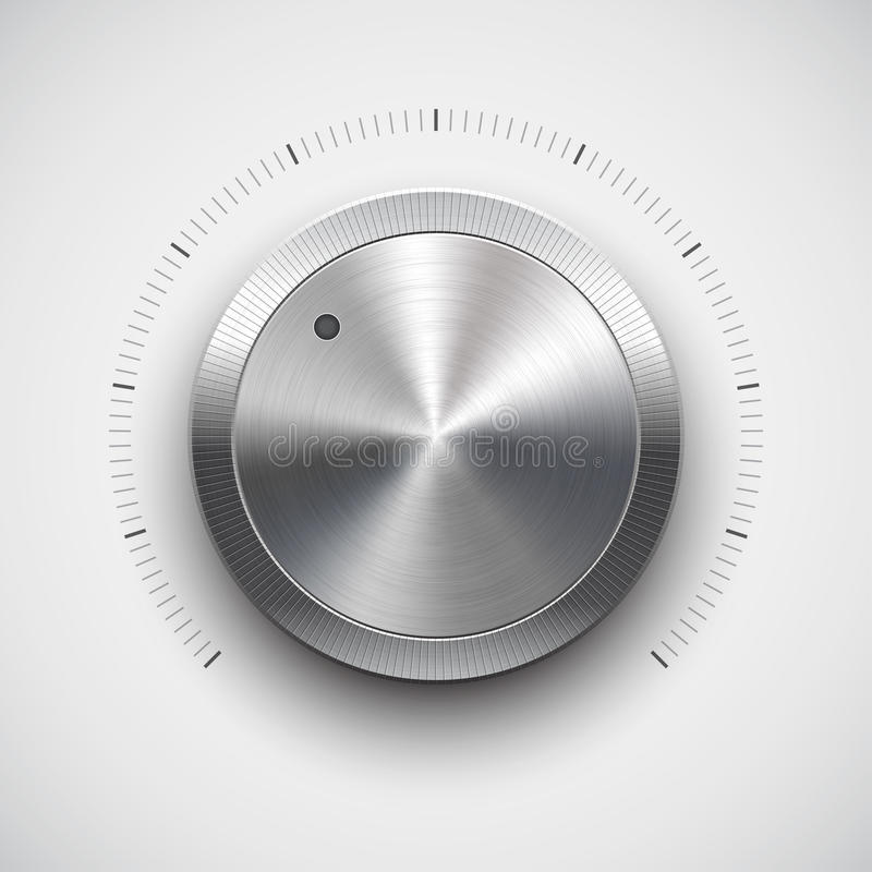 Z metal teksturą tomowy guzik (gałeczka) (chrom) ilustracji