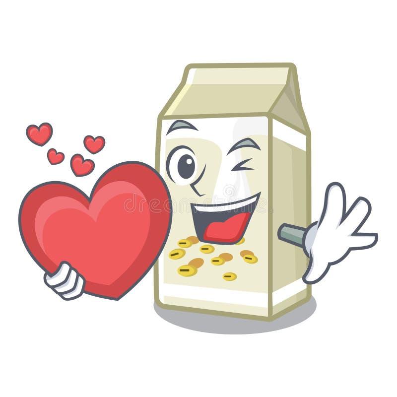 Z mlekiem sojowym serca w maskocie ilustracji