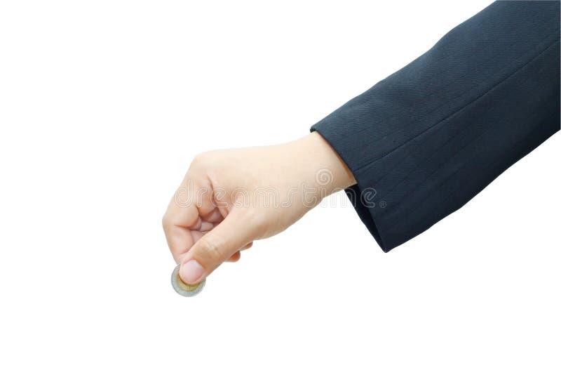 Z monetą męska ręka zdjęcia royalty free