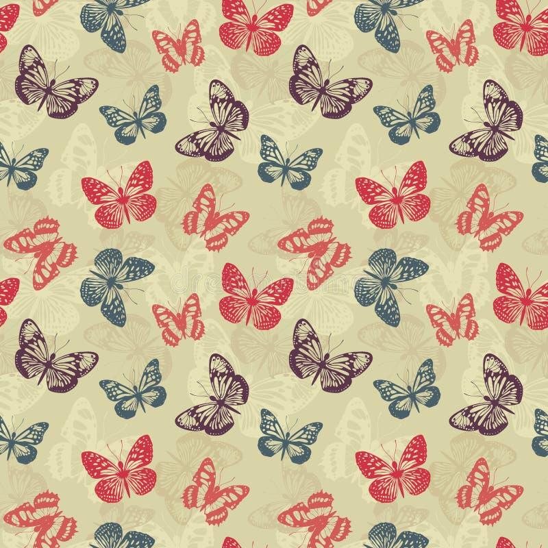 Z motylami retro wzór ilustracji