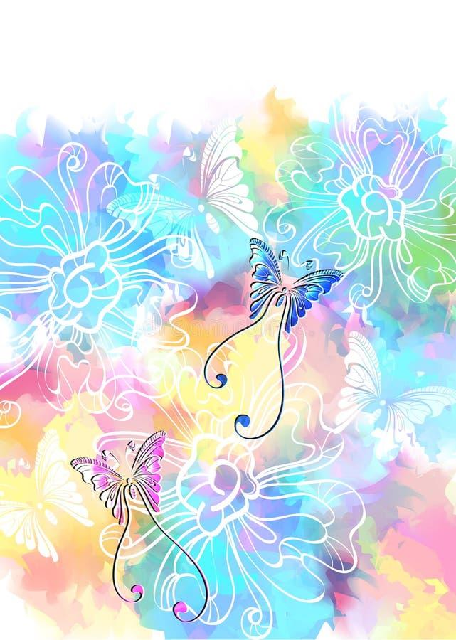 Z motylem romantyczny kolorowy kwiecisty tło ilustracji