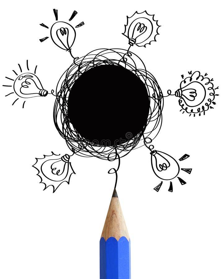 Z mowa abstrakcjonistycznymi pustymi bąblami błękit ołówek. royalty ilustracja