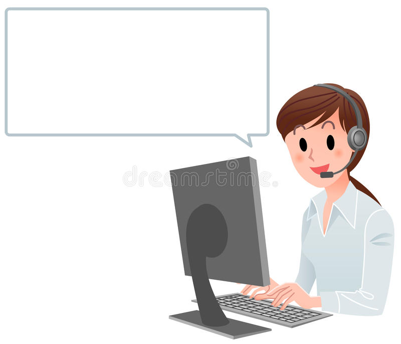Z mowa bąblem obsługa klienta kobieta ilustracja wektor