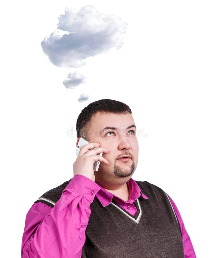 Z nadwagą biznesmen mówi na telefonie zdjęcie royalty free