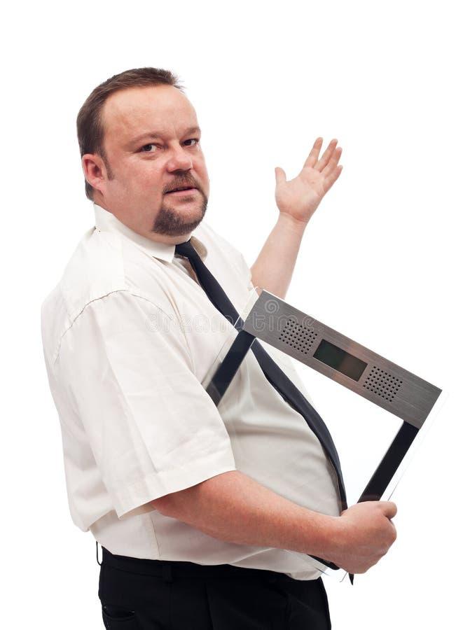 Z nadwagą biznesmena walcząca otyłość obrazy stock
