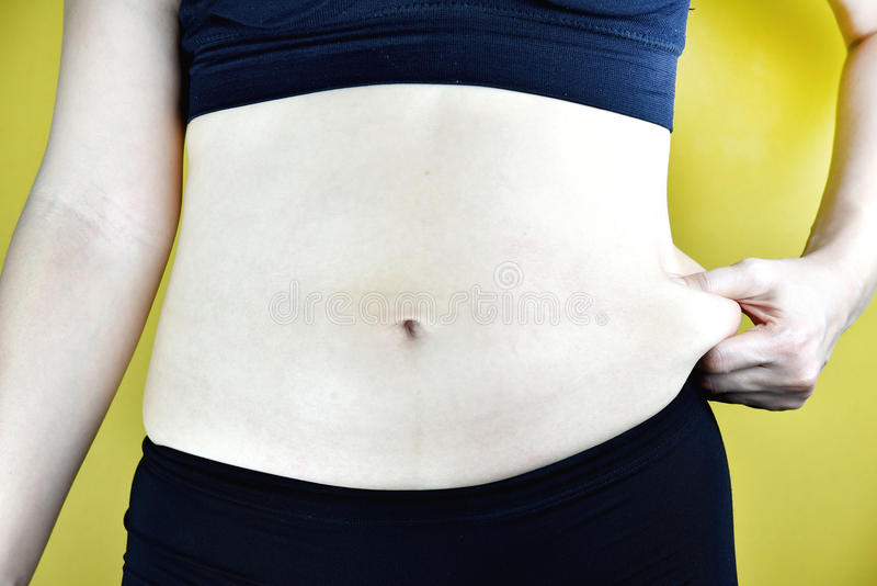 Z nadwagą gruba kobieta, W średnim wieku kobieta z przesadnym brzucha sadłem obrazy royalty free