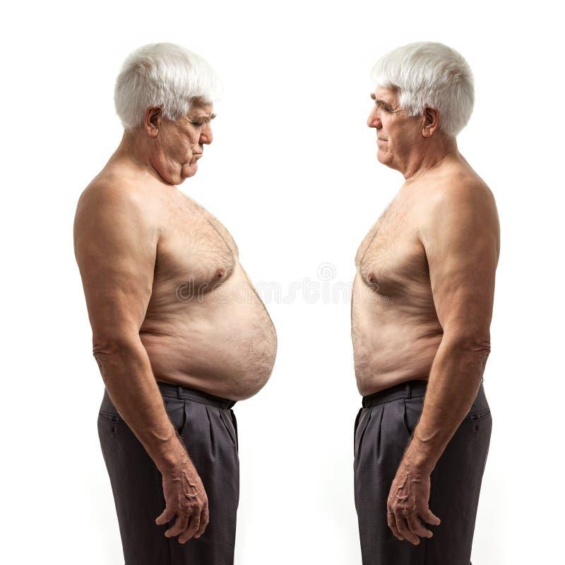 Z nadwagą mężczyzna i miarowy ciężaru mężczyzna nad bielem obrazy royalty free