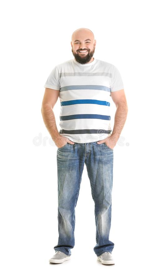 Z nadwagą młody człowiek zdjęcie royalty free