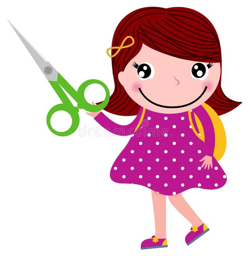 Z nożycami kreatywnie dziewczyna royalty ilustracja