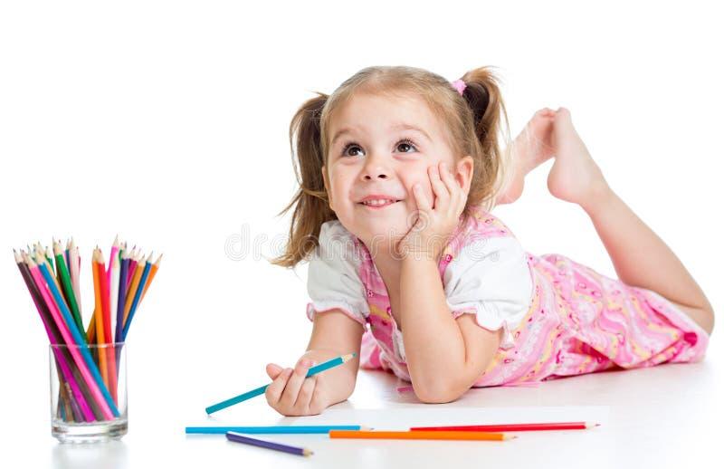 Z ołówkami dziecko marzycielska dziewczyna obrazy stock