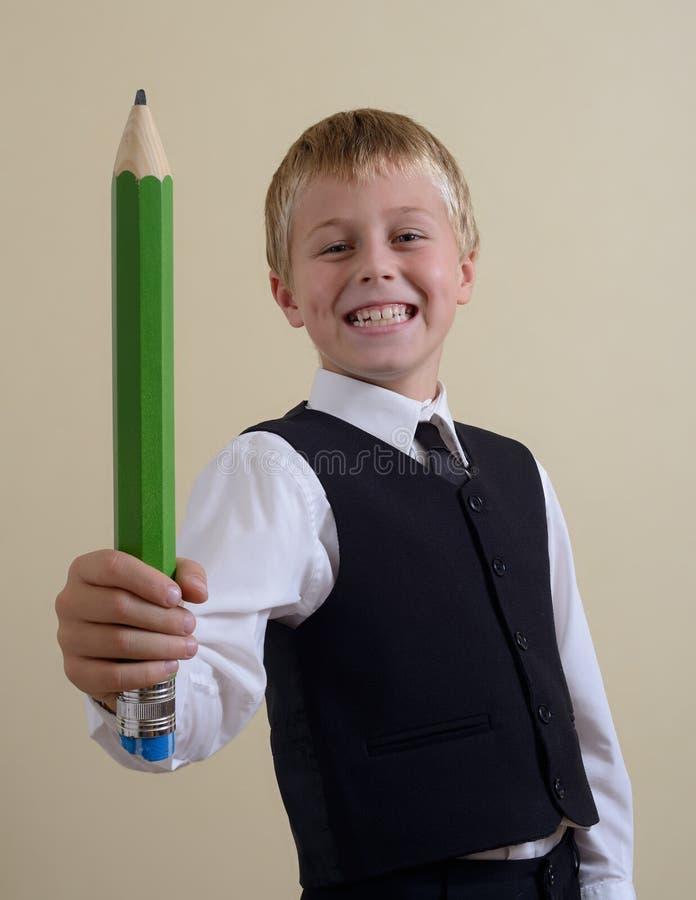 Z ołówkiem odważny uczeń zdjęcie stock