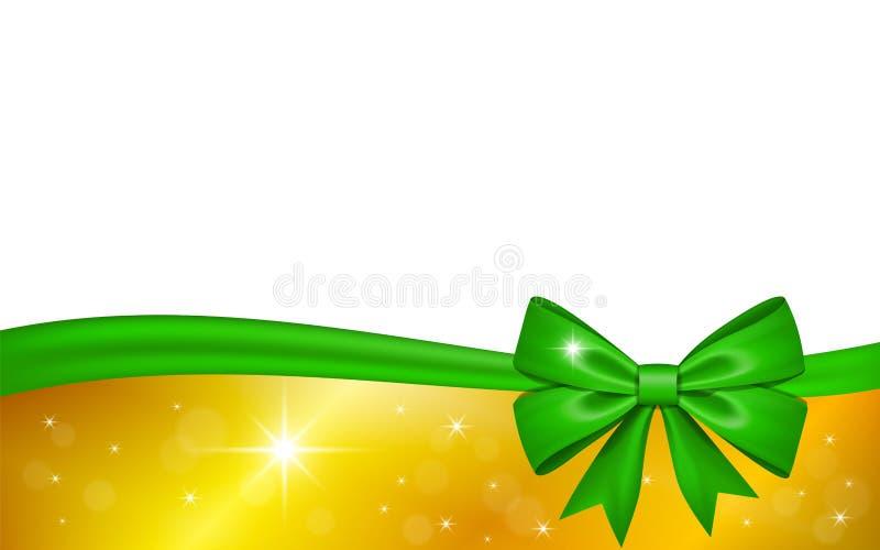 Z?ocista prezent karta z zielonym tasiemkowym ??kiem, odosobnionym na bia?ym tle Dekoracji gwiazd projekt dla Bo?enarodzeniowego  ilustracji
