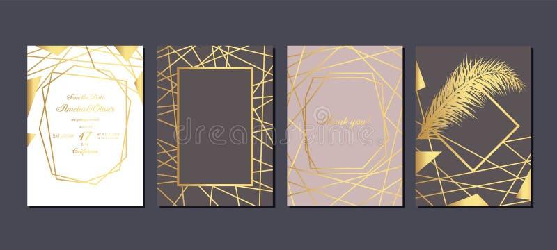 Z?ocisty ?lubny zaproszenie Luksusowe ślubne zaproszenie karty z złotem wykładają marmurem teksturę i geometrycznego deseniowego  royalty ilustracja