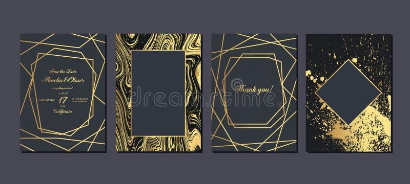 Z?ocisty ?lubny zaproszenie Luksusowe ślubne zaproszenie karty z złotem wykładają marmurem teksturę i geometrycznego deseniowego  ilustracji