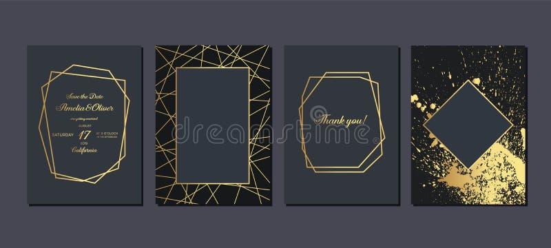 Z?ocisty ?lubny zaproszenie Luksusowe ?lubne zaproszenie karty z z?otem wyk?adaj? marmurem tekstur? i geometrycznego deseniowego  ilustracja wektor