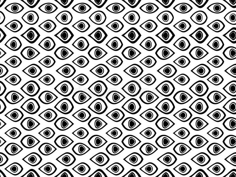 Z oczami bezszwowy wzór 5 jak był czerń granicy puszka składać się z 5 ramowy ornamentu pierścionków oddzielnie używać wektor któ ilustracja wektor