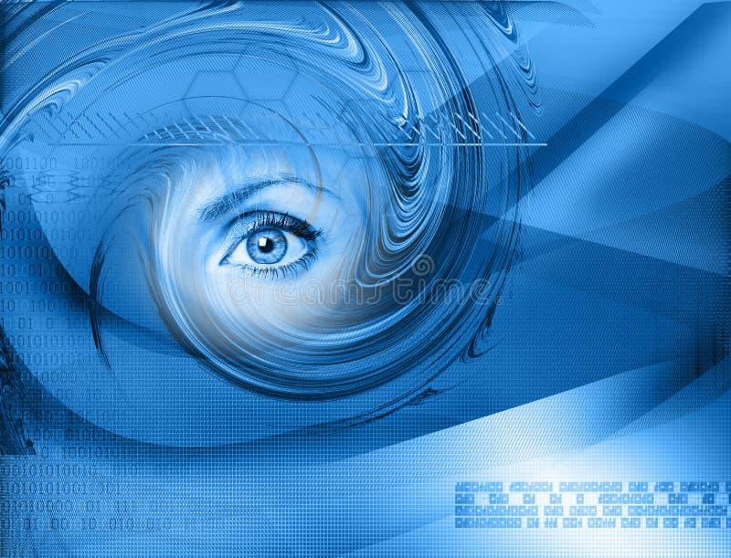Z okiem technologii zaawansowany technicznie tło ilustracja wektor