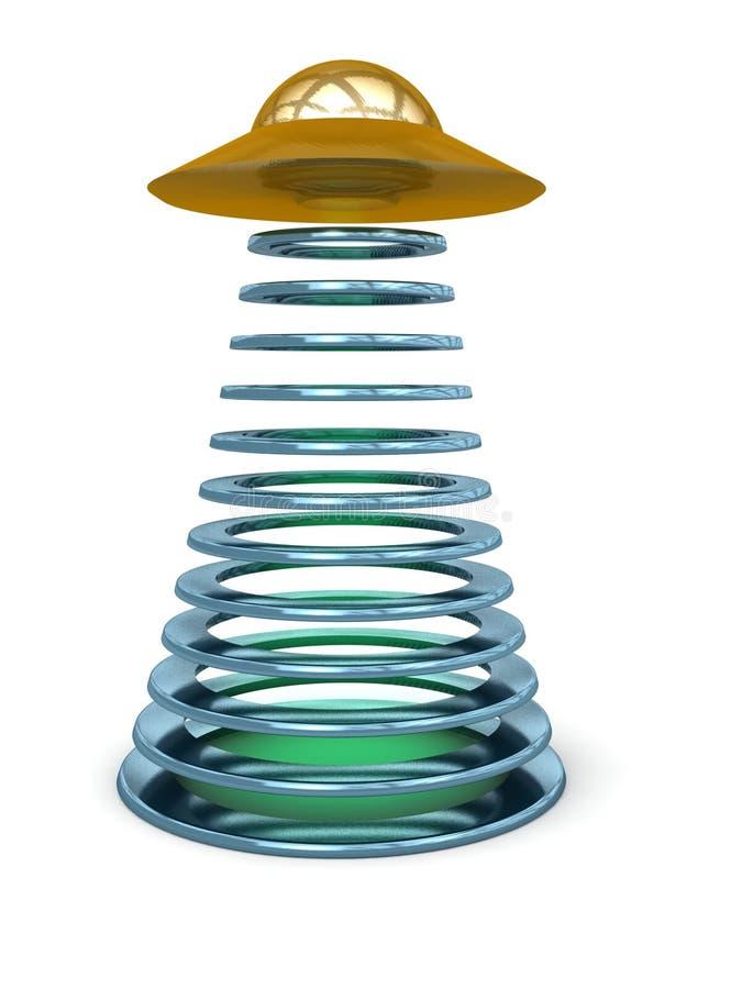 Z okregów promieniami Spodeczka obcy Latający UFO ilustracja wektor