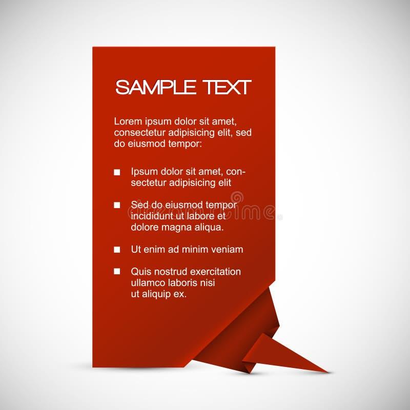Z origami kątem wektorowa Czerwona kartka royalty ilustracja