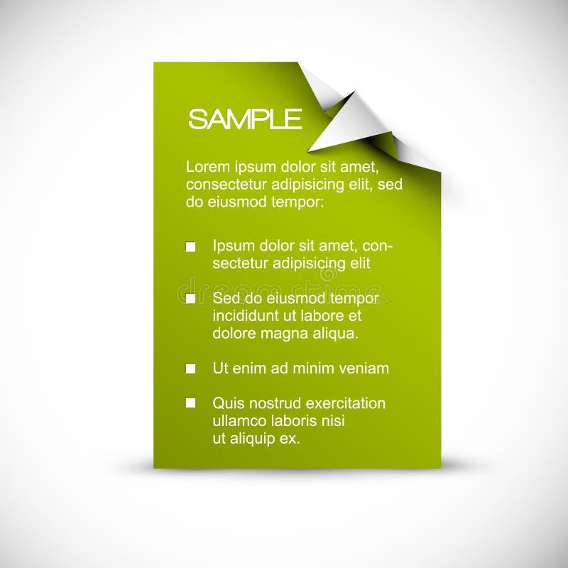 Z origami kątem wektorowa Zielona karta royalty ilustracja