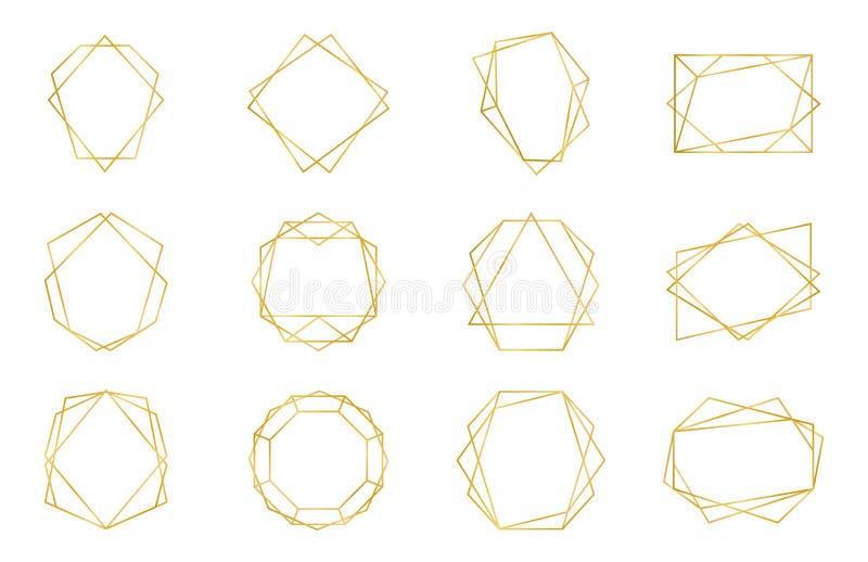 Z?ota geometryczna rama Luksusowi ślubni zaproszenie wielościanu art deco elementy, nowożytny rabatowy kształt Wektor dekoracyjny ilustracji